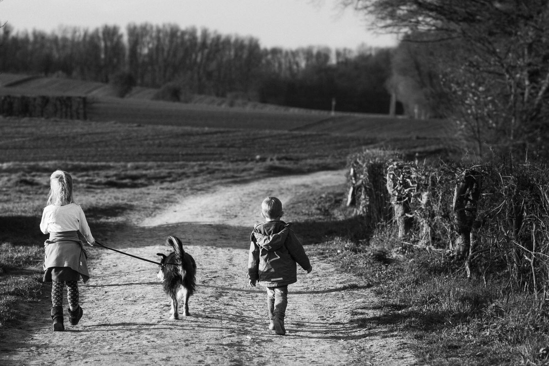 Kinder mit Hund beim Spaziergang
