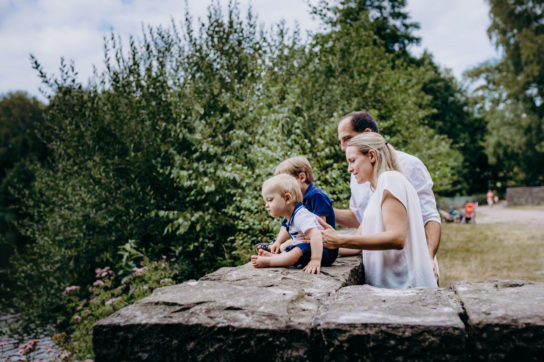 Familie beobachtet Gänse